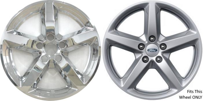 """4 CHROME 2016-2019 Ford Explorer 18/"""" Alloy Wheel Skins Full Rim Covers Hub Caps"""