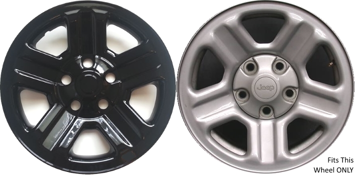 Imp 76gblk 6990gb Jeep Wrangler Black Wheel Skins Hubcaps Wheelcovers 16 Inch Set
