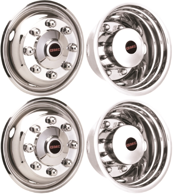 JGM1958675-GMC TopKick C4500, C5500, C6500 19 5 Inch Stainless Steel  Hubcaps/Simulators Set